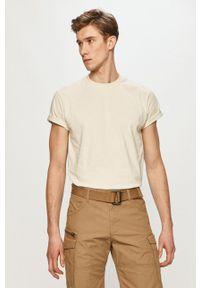 Dr. Denim - T-shirt. Okazja: na co dzień. Kolor: beżowy. Materiał: denim. Wzór: gładki. Styl: casual