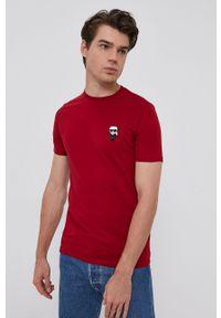 Karl Lagerfeld - T-shirt. Kolor: czerwony. Materiał: dzianina. Wzór: aplikacja
