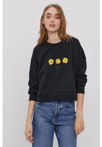 RVCA - Bluza bawełniana. Kolor: czarny. Materiał: bawełna. Wzór: nadruk