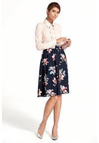 e-margeritka - Spódnica rozkloszowana w kwiaty granatowa - 42. Okazja: do pracy, na imprezę. Stan: podwyższony. Kolor: niebieski. Materiał: poliester, materiał. Długość: do kolan. Wzór: kwiaty. Sezon: wiosna. Styl: elegancki