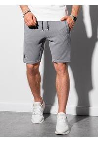 Ombre Clothing - Krótkie spodenki męskie dresowe W294 - szare - XXL. Kolor: szary. Materiał: dresówka. Długość: krótkie. Styl: klasyczny, sportowy