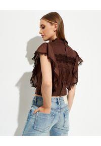 ONETEASPOON - Brązowa bluzka Metal Adventure. Kolor: brązowy. Materiał: bawełna, koronka. Wzór: koronka