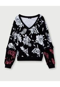 Liu Jo - LIU JO - Czarna bluza w kwiaty. Kolor: czarny. Materiał: jeans, materiał. Wzór: kwiaty