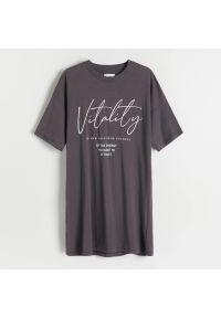 Reserved - Koszula nocna z bawełny organicznej - Szary. Kolor: szary. Materiał: bawełna