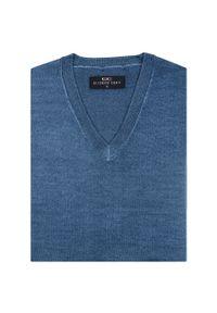Niebieski sweter Giacomo Conti z dekoltem w kształcie v, na wiosnę