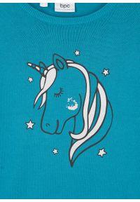 Niebieski sweter bonprix z długim rękawem, z aplikacjami, długi