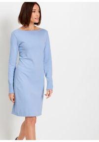 Sukienka dzianinowa bonprix perłowy niebieski. Kolor: niebieski. Materiał: dzianina. Długość rękawa: długi rękaw. Wzór: gładki