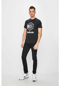 Czarny t-shirt Reebok Classic z nadrukiem, casualowy, na co dzień