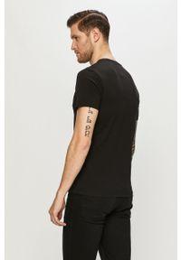 Czarny t-shirt s.Oliver casualowy, na co dzień, z nadrukiem