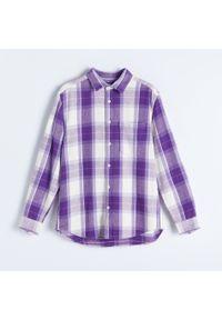 Reserved - Koszula w kratę - Fioletowy. Kolor: fioletowy