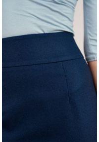 Marie Zélie - Spódnica Nela wełna ciemny turkus. Stan: podwyższony. Materiał: wełna. Wzór: motyw zwierzęcy. Styl: elegancki