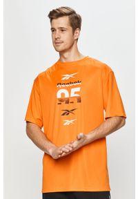Pomarańczowy t-shirt Reebok z nadrukiem, casualowy, na co dzień
