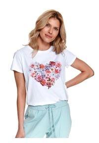 TOP SECRET - T-shirt z nadrukiem. Kolor: biały. Materiał: tkanina, bawełna. Długość rękawa: krótki rękaw. Długość: krótkie. Wzór: nadruk. Sezon: wiosna