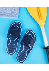 Niebieskie klapki na basen LANO na plażę, w kolorowe wzory, młodzieżowe
