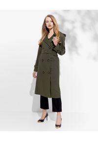 JENESEQUA - Dwurzędowy płaszcz khaki. Kolor: zielony. Materiał: bawełna. Styl: klasyczny