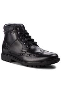 Czarne buty zimowe Clarks z cholewką, eleganckie