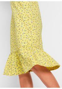 Sukienka z dżerseju z dekoltem w serek i falbanami bonprix żółty ananasowy w kwiaty. Typ kołnierza: dekolt w serek. Kolor: żółty. Materiał: jersey. Długość rękawa: krótki rękaw. Wzór: kwiaty. Długość: midi