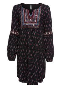 Sukienka z haftem bonprix czarny z nadrukiem. Kolor: czarny. Wzór: haft, nadruk