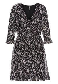 Sukienka koszulowa z falbanami bonprix czarny w kwiaty. Kolor: czarny. Wzór: kwiaty. Typ sukienki: koszulowe