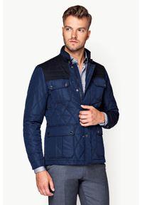 Niebieska kurtka Lancerto ze stójką, w kolorowe wzory, na co dzień, na jesień