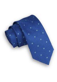 Ciemny Niebieski Krawat -Angelo di Monti- 6 cm, Męski, w Kwadraciki, Figury Geometryczne. Kolor: niebieski. Wzór: geometria. Styl: wizytowy, elegancki