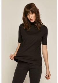 Czarna bluzka medicine z golfem, casualowa, na co dzień, gładkie