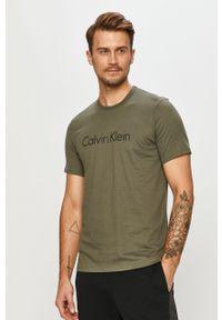 Oliwkowy t-shirt Calvin Klein Underwear na co dzień, z nadrukiem, casualowy