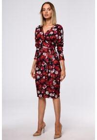 e-margeritka - Sukienka ołówkowa kopertowa z dzianiny - l. Materiał: dzianina. Typ sukienki: ołówkowe, kopertowe. Styl: elegancki