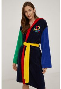 United Colors of Benetton - Szlafrok. Typ kołnierza: kaptur. Kolor: niebieski. Długość: długie