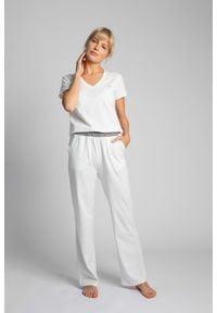 MOE - Długie Bawełniane Spodnie do Spania - Ecru. Materiał: bawełna. Długość: długie