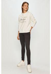 Biała bluza Pepe Jeans z nadrukiem, z długim rękawem, na co dzień, bez kaptura
