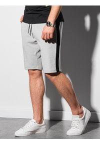 Ombre Clothing - Krótkie spodenki męskie dresowe W297 - szare - XXL. Kolor: szary. Materiał: dresówka. Długość: krótkie #4