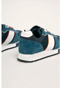 Niebieskie sneakersy s.Oliver z cholewką, z okrągłym noskiem
