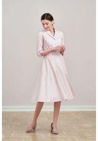 Marie Zélie - Sukienka Indis Idella. Materiał: bawełna, satyna, skóra, materiał. Typ sukienki: trapezowe. Styl: vintage