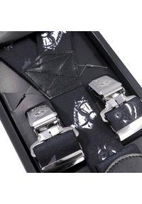 Modini - Czarne szerokie szelki męskie w konie SZ80. Kolor: czarny