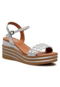 Srebrne sandały Clara Barson casualowe, na co dzień, na obcasie, na średnim obcasie