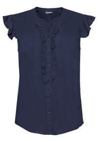 Bluzka z falbanami bonprix ciemnoniebieski. Kolor: niebieski
