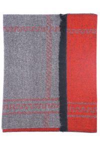Modini - Szaro-czerwony szalik męski I50. Kolor: czerwony, wielokolorowy, szary. Materiał: wiskoza
