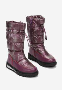 Born2be - Fioletowe Śniegowce Orienas. Zapięcie: zamek. Kolor: fioletowy. Materiał: futro, materiał. Szerokość cholewki: normalna. Wzór: gładki