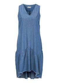 Truly mine Sukienka Vania niebieski female niebieski L (42/44). Typ kołnierza: dekolt w serek. Kolor: niebieski. Długość rękawa: bez rękawów