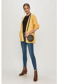 Żółty sweter rozpinany Vero Moda casualowy, gładki, z długim rękawem, długi