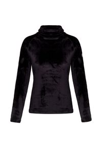 Czarny sweter Chervo z golfem, raglanowy rękaw, z aplikacjami
