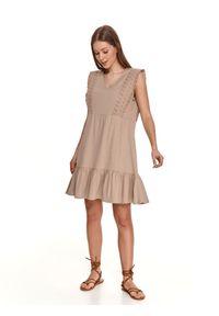 TOP SECRET - Sukienka bez rękawów z falbanką. Kolor: beżowy. Materiał: bawełna, koronka, tkanina. Długość rękawa: bez rękawów. Wzór: koronka. Sezon: lato. Styl: wakacyjny. Długość: mini
