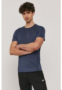 4f - 4F - T-shirt. Okazja: na co dzień. Kolor: niebieski. Materiał: włókno, dzianina. Wzór: aplikacja. Styl: casual