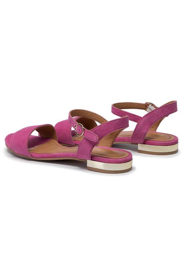 Różowe sandały Kazar na lato, w kolorowe wzory