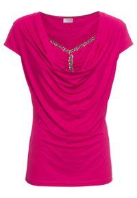 Różowa bluzka bonprix krótka, z dekoltem woda, z krótkim rękawem
