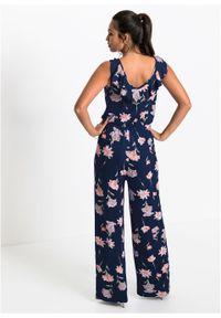 Kombinezon z dżerseju w kwiaty bonprix błękit królewski w kwiaty. Kolor: niebieski. Materiał: jersey. Wzór: kwiaty