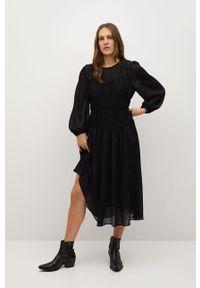mango - Mango - Sukienka TIGA. Kolor: czarny. Długość rękawa: długi rękaw. Typ sukienki: rozkloszowane