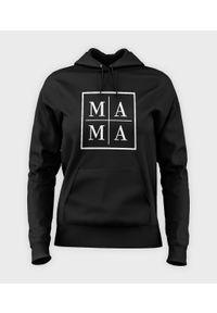 MegaKoszulki - Bluza damska z kapturem Mama - biały kwadrat. Typ kołnierza: kaptur. Kolor: biały