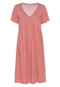Sukienka bonprix rabarbarowy z nadrukiem. Kolor: różowy. Wzór: nadruk